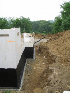 Foundation with waterproofing